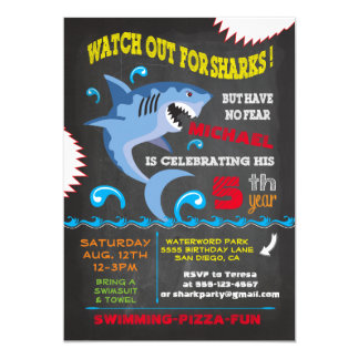 "Shark Birthday Swimming Party Invitations 5"" X 7"" Invitation Card"