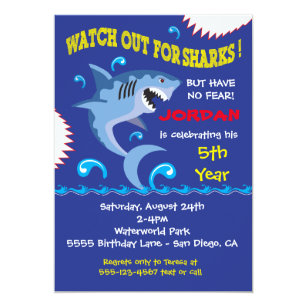shark party invitations zazzle