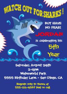 shark birthday invitations zazzle