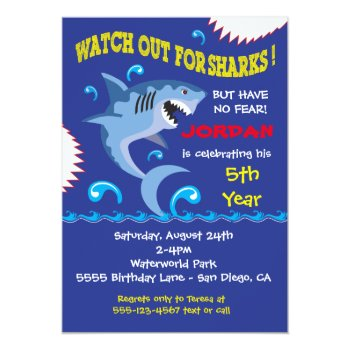 Shark Birthday Swimming Pool Party Invitations by McBooboo at Zazzle