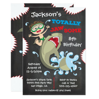 Shark Birthday Swimming Pool Party Invitations