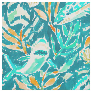 Shark Bite Aquamarine Ocean Life Watercolor Fabric