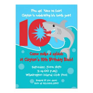 Shark Bite Invite- 10th Birthday Party Card