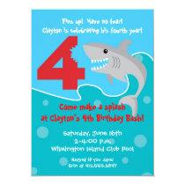 Shark Bite Invite- 4th Birthday Party Invitation