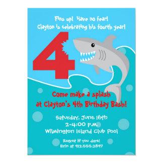 Shark Bite Invite- 4th Birthday Party Personalized Invites