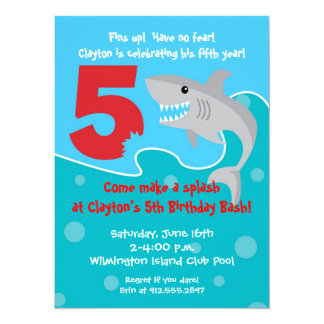 Shark Bite Invite- 5th Birthday Party 5.5x7.5 Paper Invitation Card