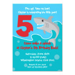 "Shark Bite Invite- 5th Birthday Party 5.5"" X 7.5"" Invitation Card"