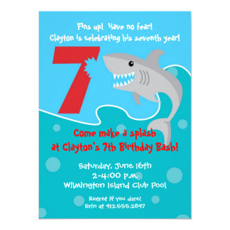 Shark Bite Invite- 7th Birthday Party 5.5x7.5 Paper Invitation Card