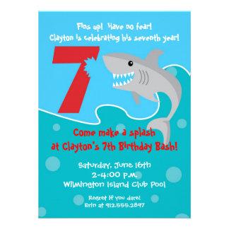 Shark Bite Invite- 7th Birthday Party