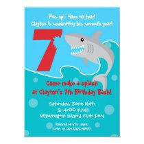Shark Bite Invite- 7th Birthday Party Invitation
