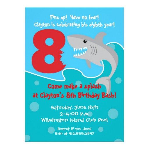 Shark Bite Invite- 8th Birthday Party