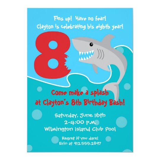 Shark Bite Invite- 8th Birthday Party Card