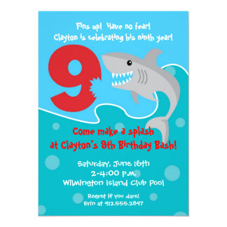 Shark Bite Invite- 9th Birthday Party Card