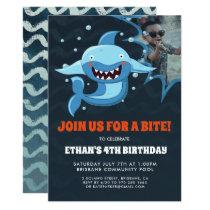 Shark Bite | Photo Birthday Party Invitation