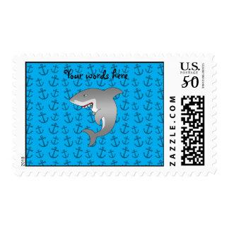 Shark blue anchors postage