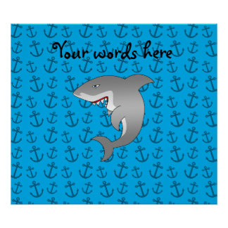 Shark blue anchors posters