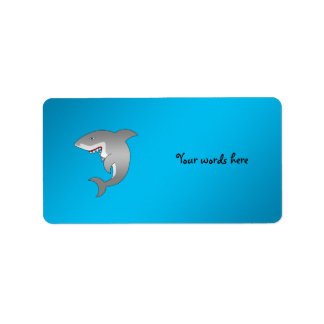 Shark blue background label