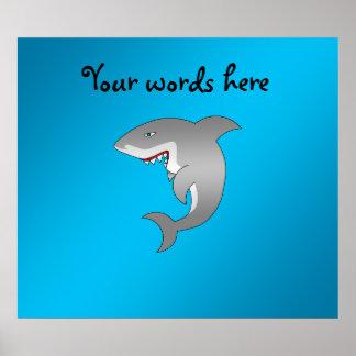 Shark blue background poster