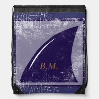 shark blue fin personalized drawstring bag