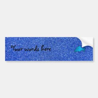 Shark blue glitter bumper sticker