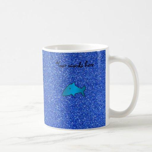 Shark blue glitter coffee mugs