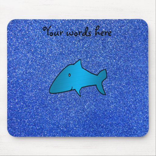 Shark blue glitter mouse pad