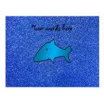 Shark blue glitter postcards