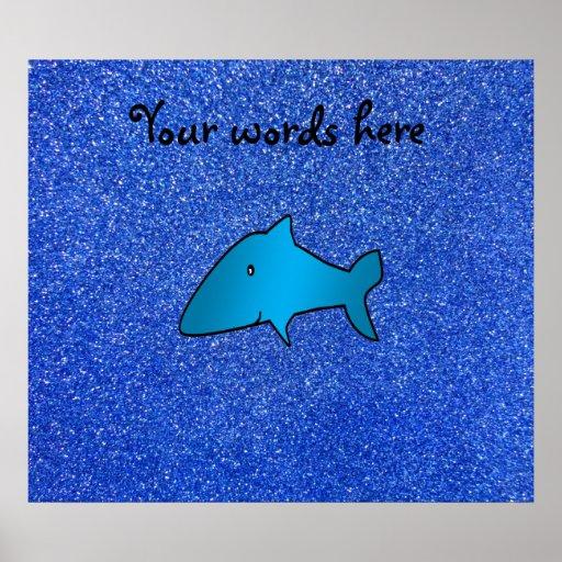Shark blue glitter poster