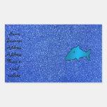 Shark blue glitter rectangle stickers