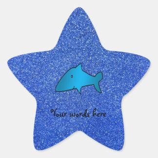 Shark blue glitter star stickers