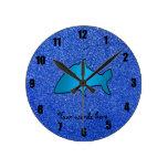 Shark blue glitter wallclocks