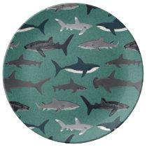 Shark Boys Green Ocean Animals / Andrea Lauren Porcelain Plate