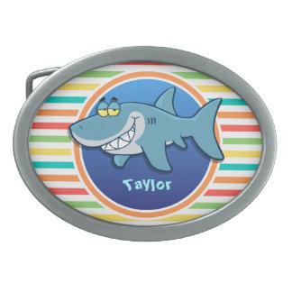 Shark; Bright Rainbow Stripes Oval Belt Buckle