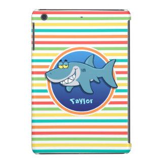 Shark; Bright Rainbow Stripes iPad Mini Cases
