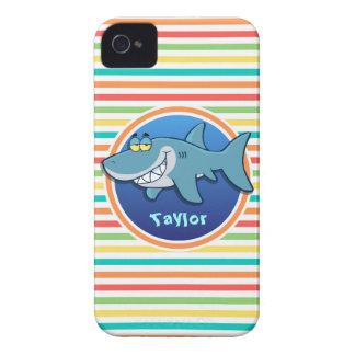Shark; Bright Rainbow Stripes iPhone 4 Case