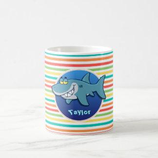 Shark; Bright Rainbow Stripes Coffee Mug