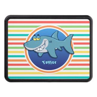 Shark; Bright Rainbow Stripes Tow Hitch Cover