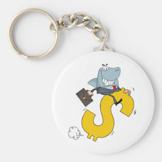 Shark Businessman Riding On A Dollar Symbol Keychain