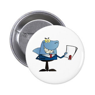 Shark Businessman Showing Contract Pinback Buttons