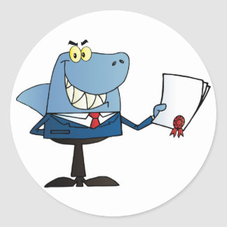Shark Businessman Showing Contract Classic Round Sticker