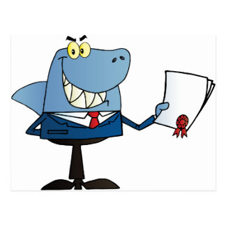 Shark Businessman Showing Contract Postcard