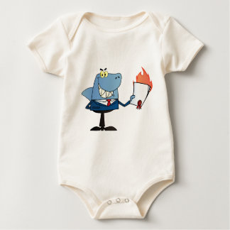 Shark Businessman Showing Flaming Contract Baby Bodysuit