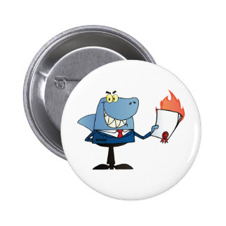 Shark Businessman Showing Flaming Contract Pins