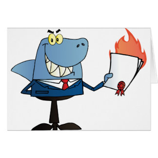 Shark Businessman Showing Flaming Contract Card