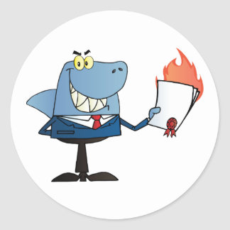 Shark Businessman Showing Flaming Contract Classic Round Sticker