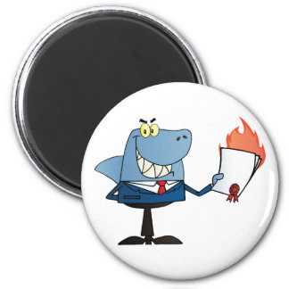 Shark Businessman Showing Flaming Contract Magnet