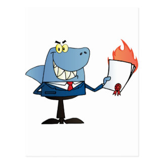 Shark Businessman Showing Flaming Contract Postcard