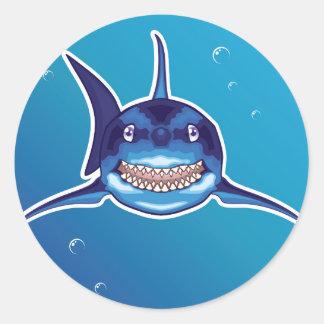 Shark Cartoon Classic Round Sticker