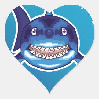 Shark Cartoon Heart Sticker