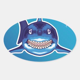 Shark Cartoon Oval Sticker